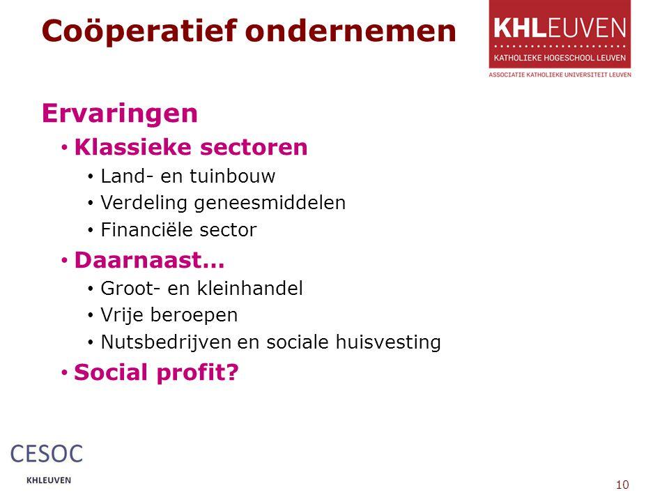 Coöperatief ondernemen Ervaringen Klassieke sectoren Land- en tuinbouw Verdeling geneesmiddelen Financiële sector Daarnaast… Groot- en kleinhandel Vrije beroepen Nutsbedrijven en sociale huisvesting Social profit.
