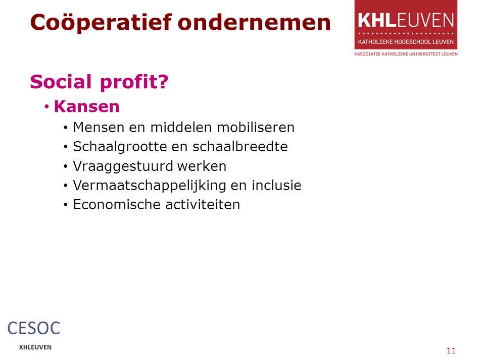 Coöperatief ondernemen Social profit.