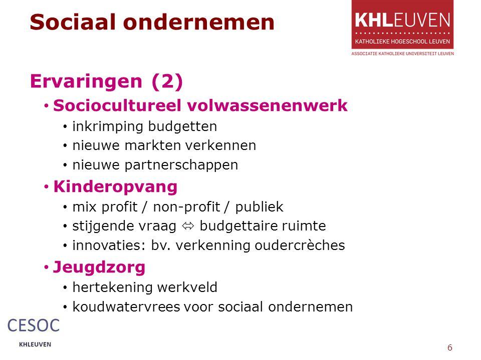 Sociaal ondernemen Ervaringen (2) Sociocultureel volwassenenwerk inkrimping budgetten nieuwe markten verkennen nieuwe partnerschappen Kinderopvang mix profit / non-profit / publiek stijgende vraag  budgettaire ruimte innovaties: bv.