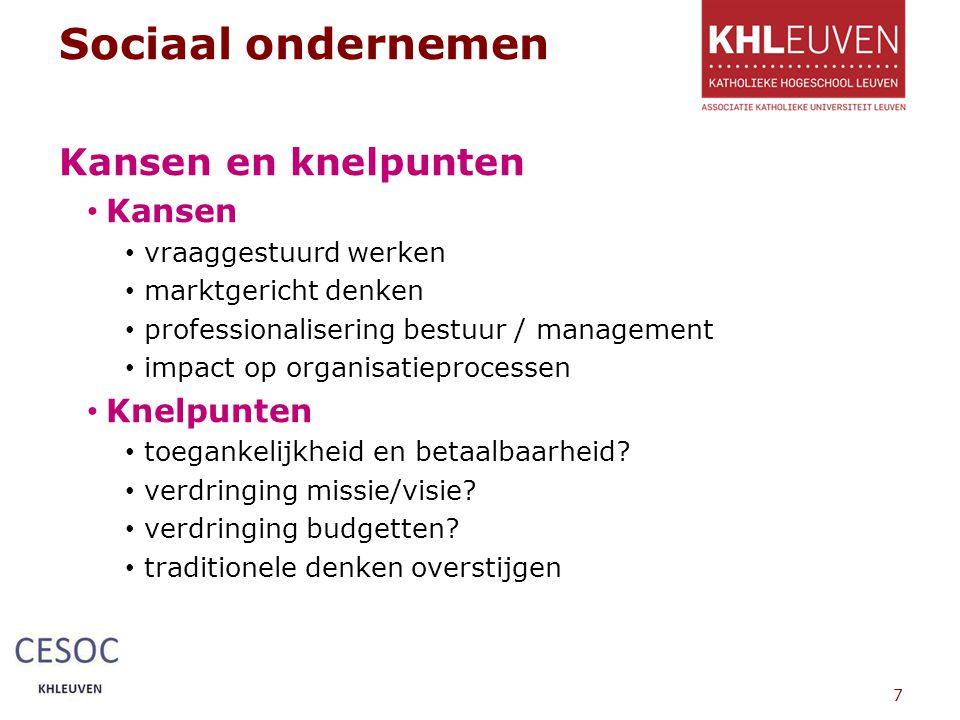 Sociaal ondernemen Kansen en knelpunten Kansen vraaggestuurd werken marktgericht denken professionalisering bestuur / management impact op organisatieprocessen Knelpunten toegankelijkheid en betaalbaarheid.