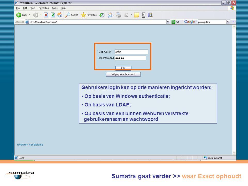 Gebruikers login kan op drie manieren ingericht worden: Op basis van Windows authenticatie; Op basis van LDAP; Op basis van een binnen WebUren verstrekte gebruikersnaam en wachtwoord