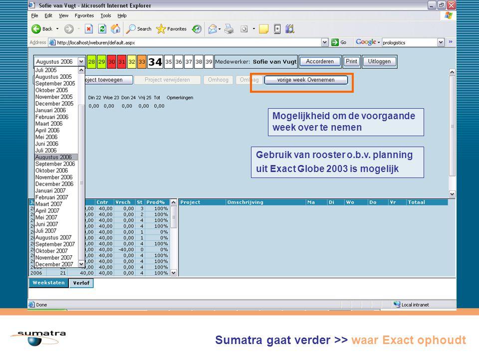 Mogelijkheid om de voorgaande week over te nemen Sumatra gaat verder >> waar Exact ophoudt Gebruik van rooster o.b.v.
