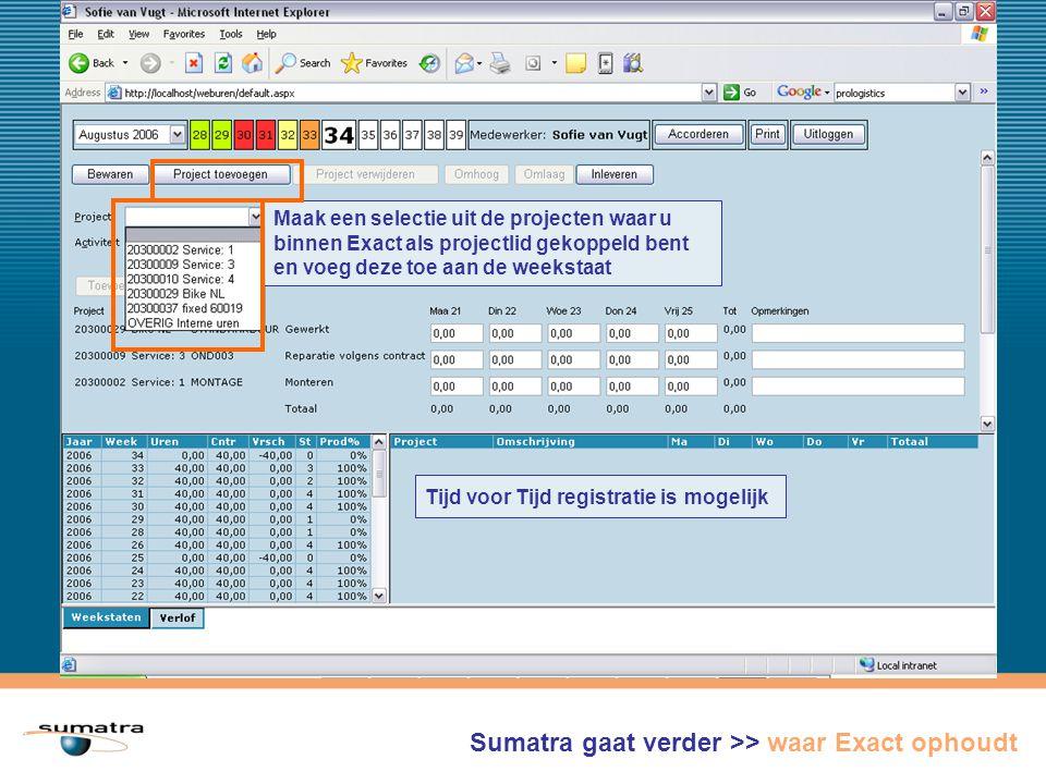 Maak een selectie uit de projecten waar u binnen Exact als projectlid gekoppeld bent en voeg deze toe aan de weekstaat Sumatra gaat verder >> waar Exact ophoudt Tijd voor Tijd registratie is mogelijk