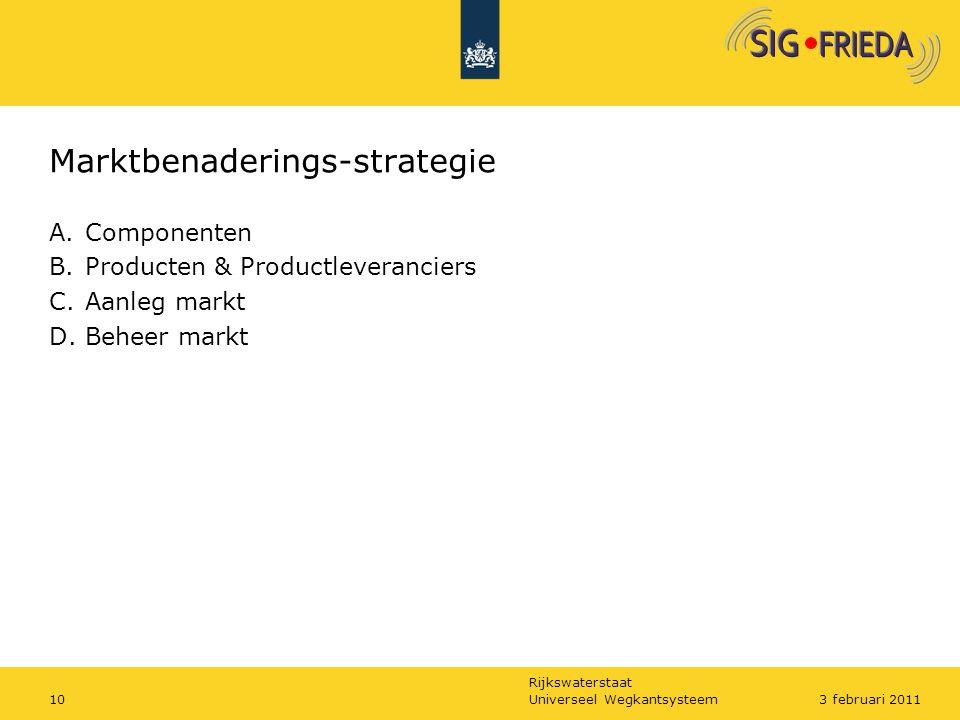 Rijkswaterstaat Marktbenaderings-strategie A.Componenten B.Producten & Productleveranciers C.Aanleg markt D.Beheer markt Universeel Wegkantsysteem103