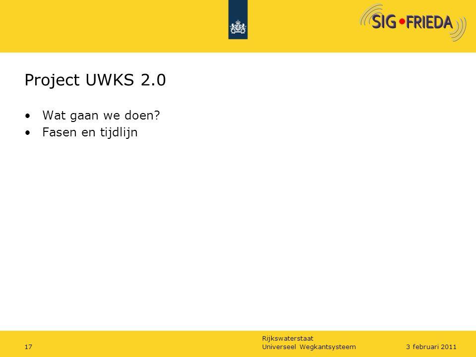 Rijkswaterstaat Project UWKS 2.0 Wat gaan we doen? Fasen en tijdlijn Universeel Wegkantsysteem173 februari 2011