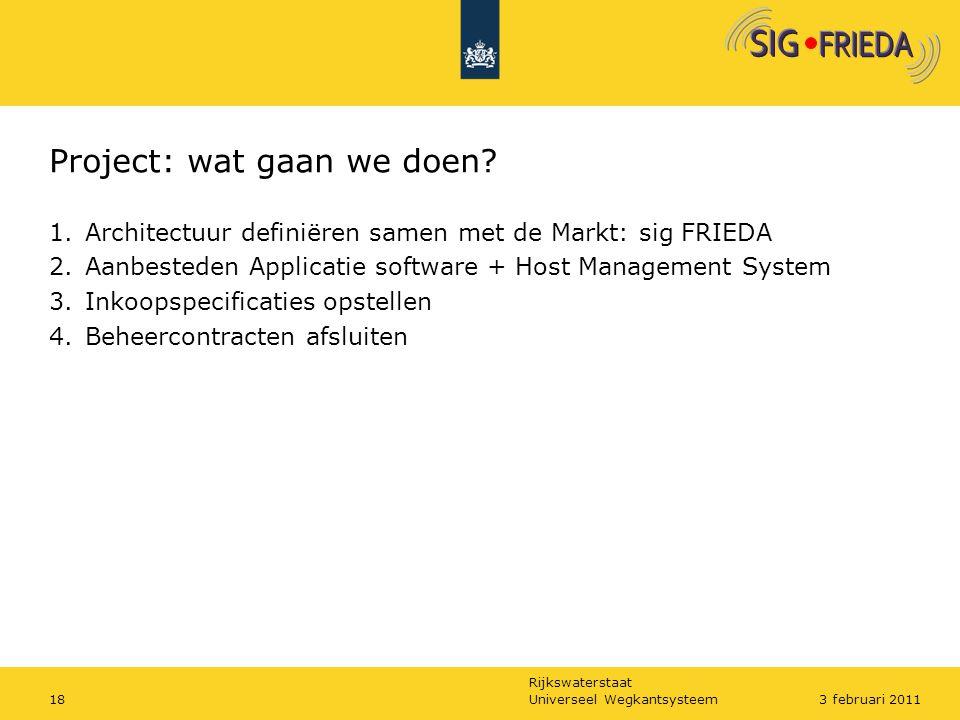 Rijkswaterstaat Project: wat gaan we doen? 1.Architectuur definiëren samen met de Markt: sig FRIEDA 2.Aanbesteden Applicatie software + Host Managemen