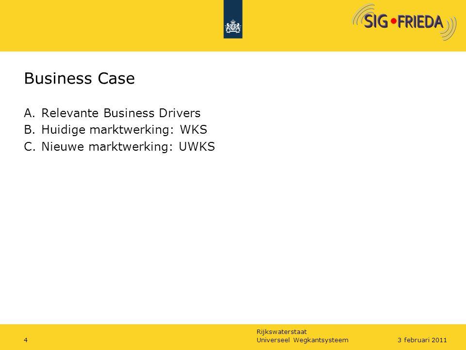 Rijkswaterstaat Business Case A.Relevante Business Drivers B.Huidige marktwerking: WKS C.Nieuwe marktwerking: UWKS Universeel Wegkantsysteem43 februar
