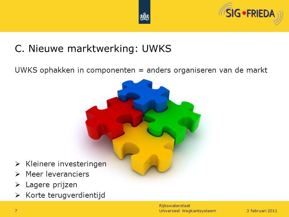 Rijkswaterstaat C. Nieuwe marktwerking: UWKS UWKS ophakken in componenten = anders organiseren van de markt  Kleinere investeringen  Meer leverancie