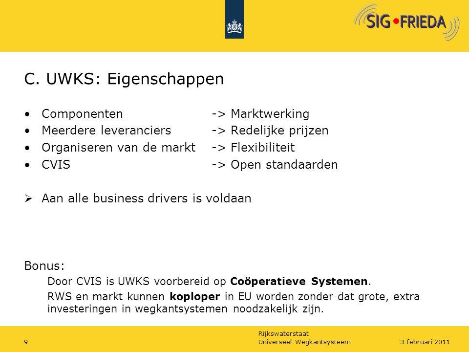 Rijkswaterstaat C. UWKS: Eigenschappen Componenten -> Marktwerking Meerdere leveranciers -> Redelijke prijzen Organiseren van de markt -> Flexibilitei