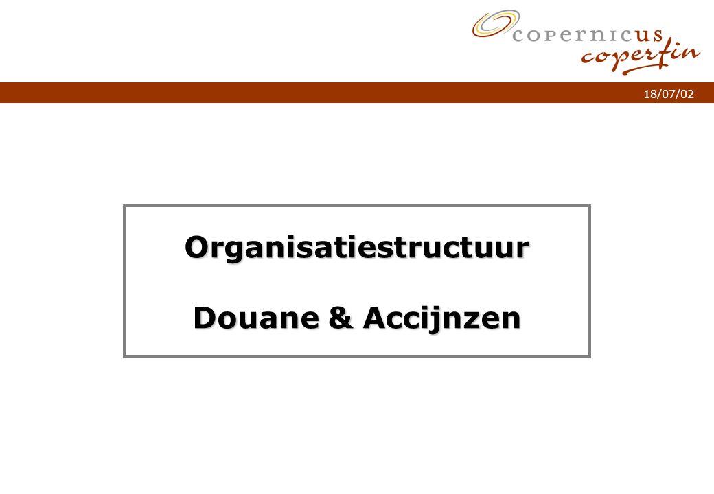 p. 1Titel van de presentatie 18/07/02 Organisatiestructuur Douane & Accijnzen