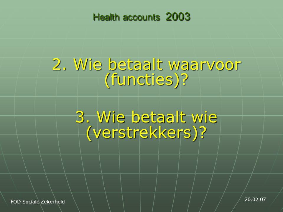 Health accounts 2003 2. Wie betaalt waarvoor (functies).