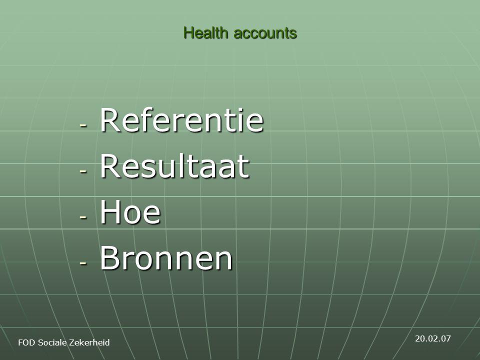 Health accounts 2003 Welke bronnen.