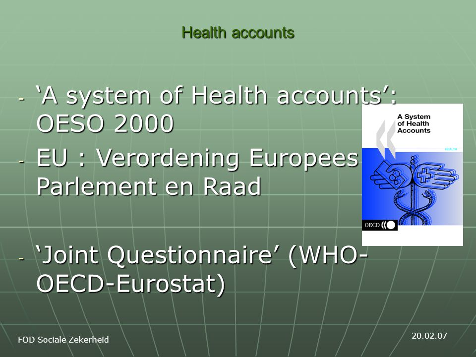 Health accounts The concept of health care underlying the design of the ICHA-HC functional classification Activities of health care in a country comprises the sum of activities performed either by institutions or individuals pursuing, through the application of medical, paramedical and nursing knowledge and technology, the goals of: promoting health and preventing disease; curing illness and reducing premature mortality; caring for persons affected by chronic illness who require nursing care; caring for persons with health-related impairment, disability, and handicaps who require nursing care; assisting patients to die with dignity; providing and administering public health; providing and administering health programmes, health insurance and other funding arrangements.