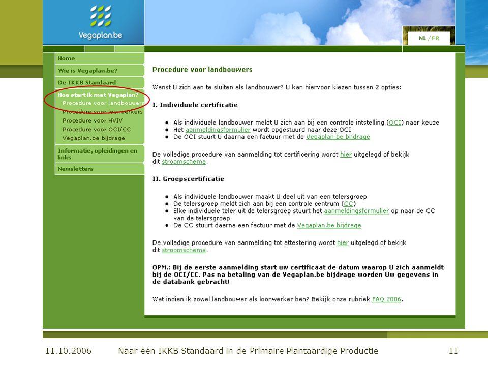 11.10.2006 Naar één IKKB Standaard in de Primaire Plantaardige Productie11 De organisatie Communicatie: de website