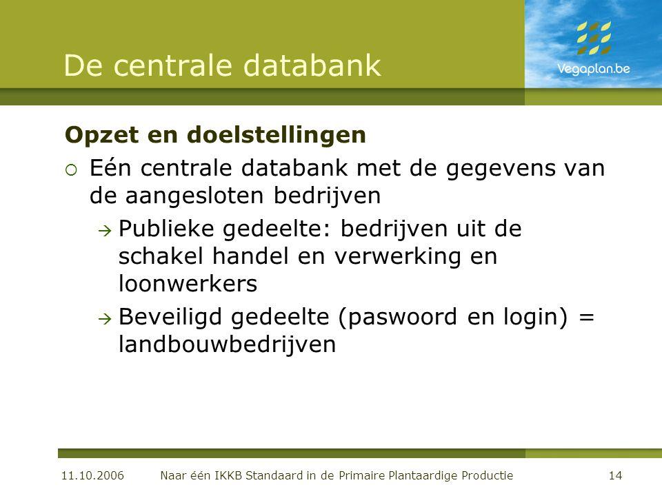 11.10.2006 Naar één IKKB Standaard in de Primaire Plantaardige Productie14 De centrale databank Opzet en doelstellingen  Eén centrale databank met de
