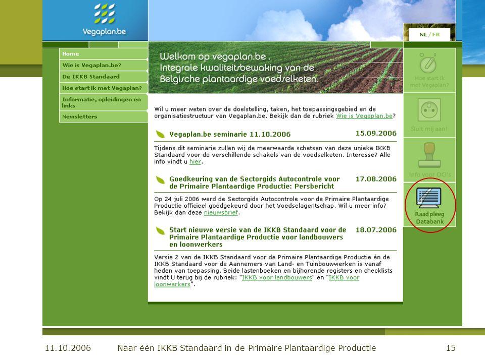 11.10.2006 Naar één IKKB Standaard in de Primaire Plantaardige Productie15 De organisatie Communicatie: de website