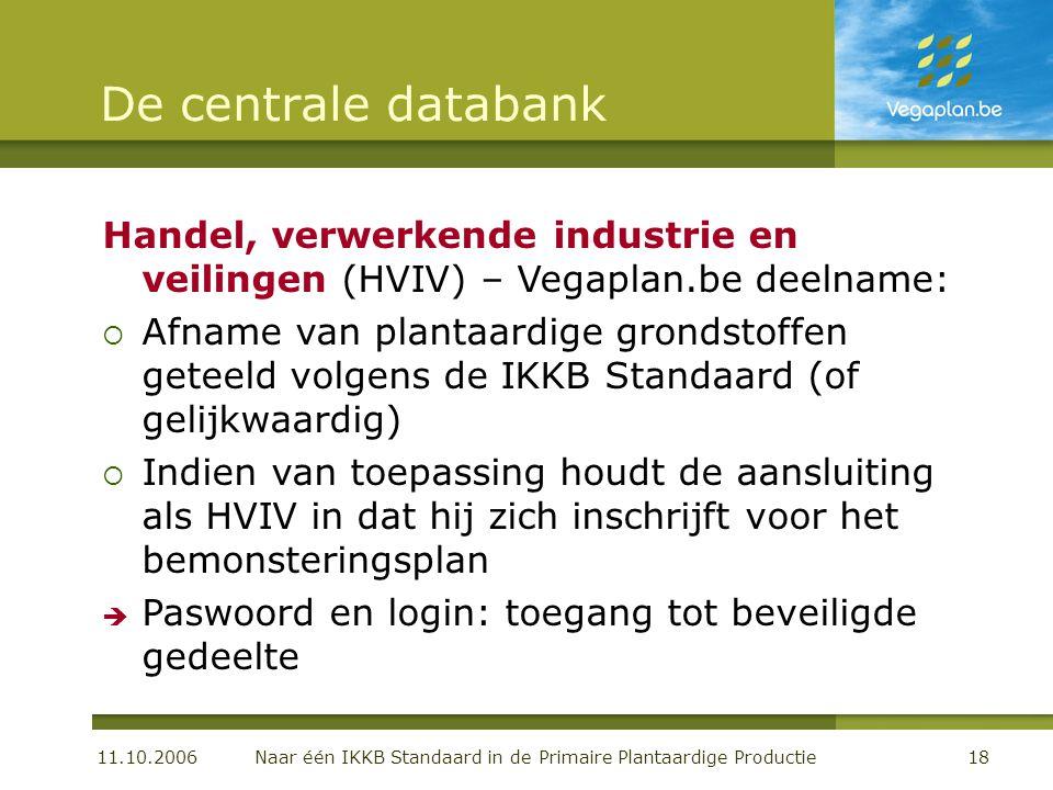 11.10.2006 Naar één IKKB Standaard in de Primaire Plantaardige Productie18 De centrale databank Handel, verwerkende industrie en veilingen (HVIV) – Ve
