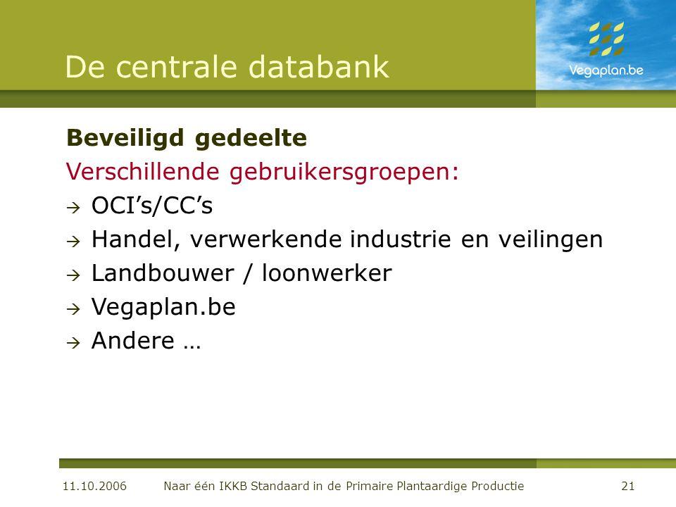 11.10.2006 Naar één IKKB Standaard in de Primaire Plantaardige Productie21 De centrale databank Beveiligd gedeelte Verschillende gebruikersgroepen: 