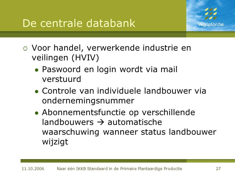 11.10.2006 Naar één IKKB Standaard in de Primaire Plantaardige Productie27 De centrale databank  Voor handel, verwerkende industrie en veilingen (HVI