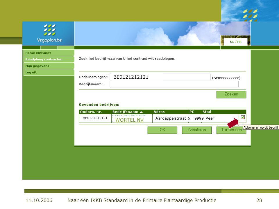 11.10.2006 Naar één IKKB Standaard in de Primaire Plantaardige Productie28 De centrale databank BE0121212121 WORTEL NV Aardappelstraat 6 9999 Peer