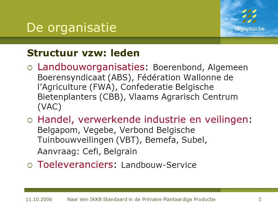11.10.2006 Naar één IKKB Standaard in de Primaire Plantaardige Productie3 De organisatie Structuur vzw: leden  Landbouworganisaties: Boerenbond, Alge