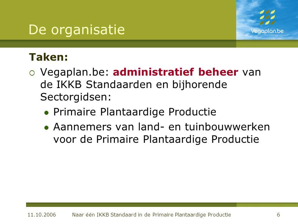 11.10.2006 Naar één IKKB Standaard in de Primaire Plantaardige Productie6 De organisatie Taken:  Vegaplan.be: administratief beheer van de IKKB Stand