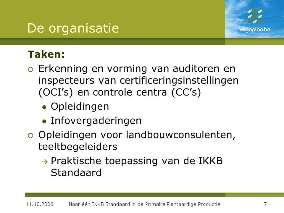 11.10.2006 Naar één IKKB Standaard in de Primaire Plantaardige Productie7 De organisatie Taken:  Erkenning en vorming van auditoren en inspecteurs va