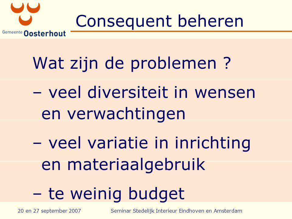 20 en 27 september 2007Seminar Stedelijk Interieur Eindhoven en Amsterdam Consequent beheren Wat zijn de problemen .