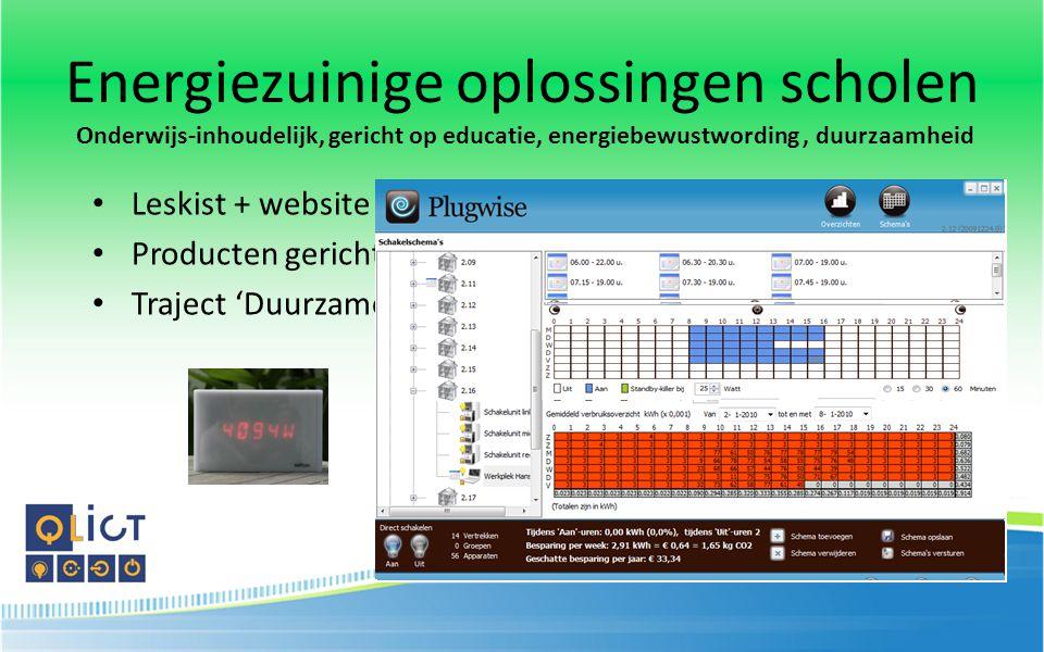 Leskist + website 'Energie'Energie Producten gericht op besparing Traject 'Duurzame scholen' (4Green)4Green Energiezuinige oplossingen scholen Onderwi