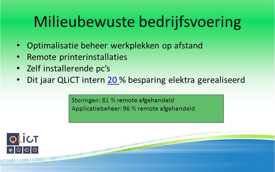 Milieubewuste bedrijfsvoering Optimalisatie beheer werkplekken op afstand Remote printerinstallaties Zelf installerende pc's Dit jaar QLiCT intern 20