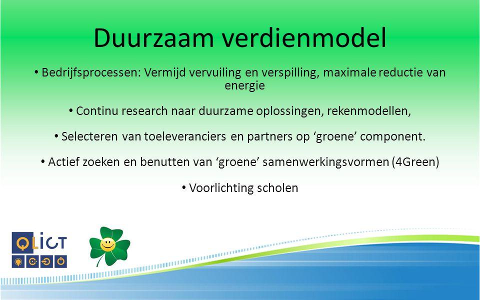 Duurzaam verdienmodel Bedrijfsprocessen: Vermijd vervuiling en verspilling, maximale reductie van energie Continu research naar duurzame oplossingen,