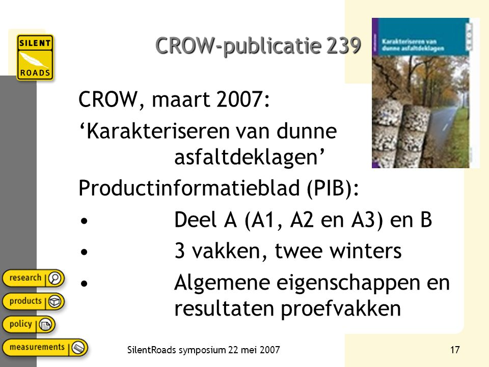 SilentRoads symposium 22 mei 200717 CROW-publicatie 239 CROW, maart 2007: 'Karakteriseren van dunne asfaltdeklagen' Productinformatieblad (PIB): Deel A (A1, A2 en A3) en B 3 vakken, twee winters Algemene eigenschappen en resultaten proefvakken