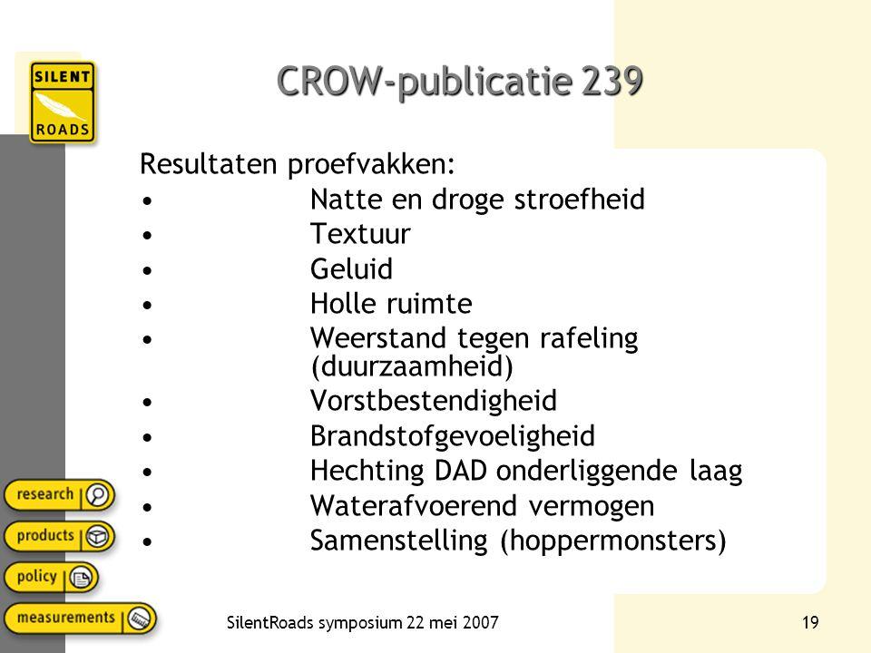 SilentRoads symposium 22 mei 200719 CROW-publicatie 239 Resultaten proefvakken: Natte en droge stroefheid Textuur Geluid Holle ruimte Weerstand tegen