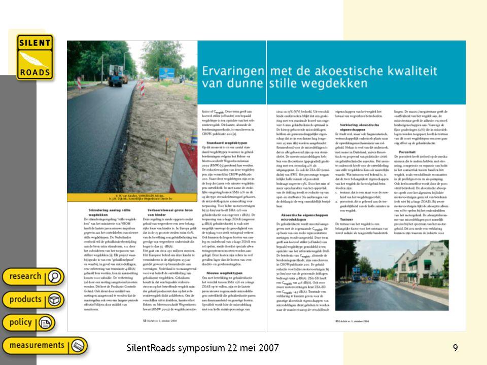 SilentRoads symposium 22 mei 200720 CROW-publicatie 239 Duurzaamheid (weerstand tegen rafeling) in termen van visuele inspectie, watergevoeligheid en bitumenfilmdikte Duurzaamheid toch moeilijk te meten, vandaar drie vakken gedurende twee winters