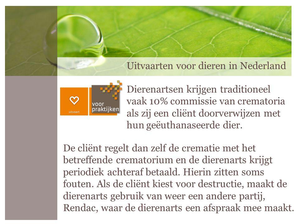 Uitvaarten voor dieren in Nederland De cliënt regelt dan zelf de crematie met het betreffende crematorium en de dierenarts krijgt periodiek achteraf b