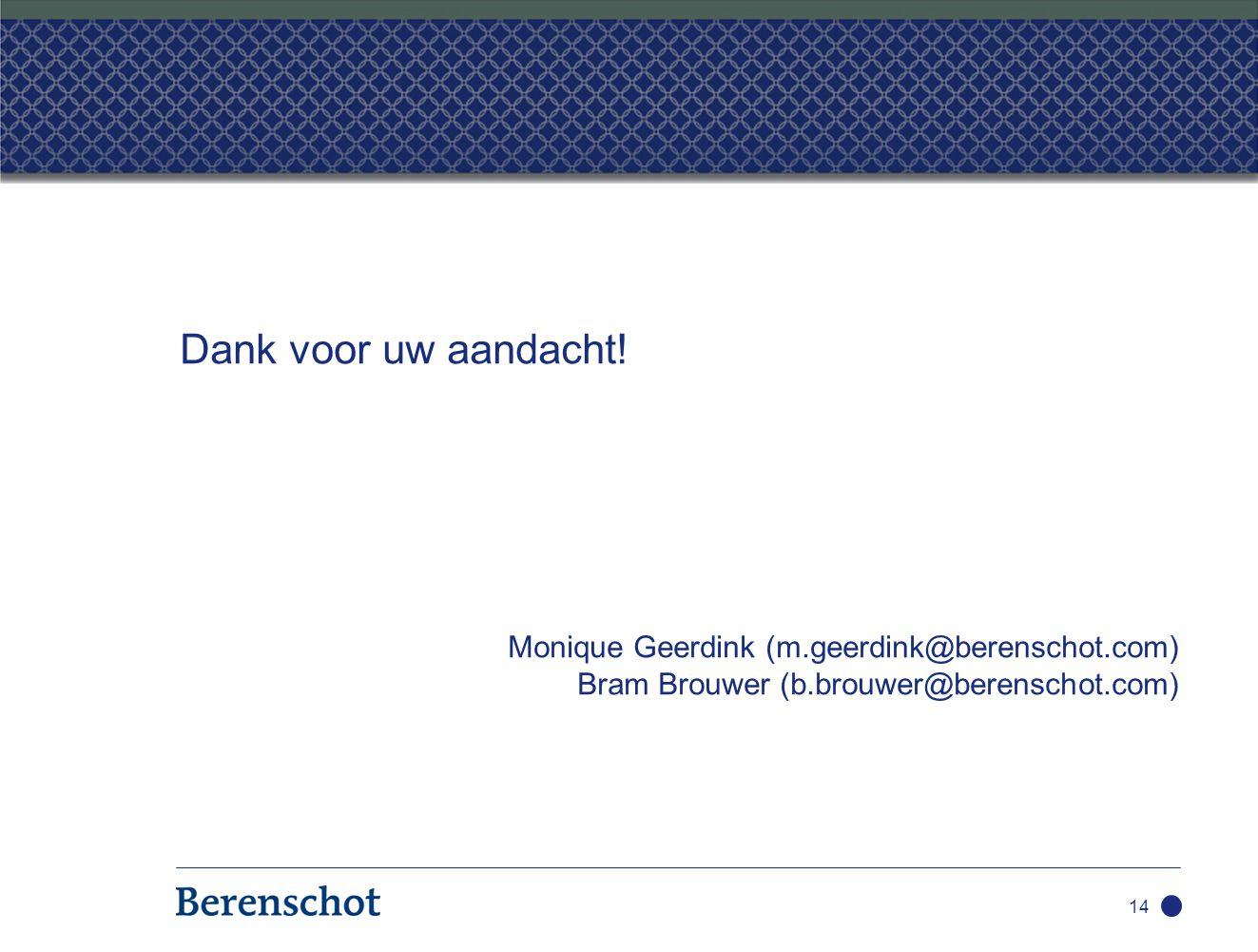 Dank voor uw aandacht! Monique Geerdink (m.geerdink@berenschot.com) Bram Brouwer (b.brouwer@berenschot.com) 14