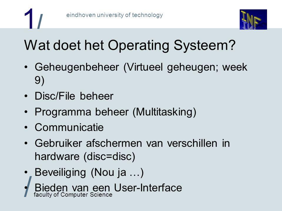 1/1/ / faculty of Computer Science eindhoven university of technology Wat doet het Operating Systeem? Geheugenbeheer (Virtueel geheugen; week 9) Disc/