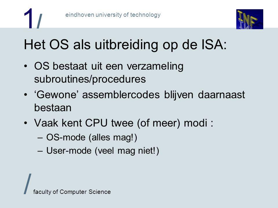 1/1/ / faculty of Computer Science eindhoven university of technology User programs 3 Shared libraries 2 System calls 1 Mogelijk gebruikt Pentium II protecties: Kernel 0