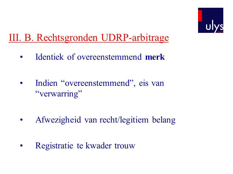 """III. B. Rechtsgronden UDRP-arbitrage Identiek of overeenstemmend merk Indien """"overeenstemmend"""", eis van """"verwarring"""" Afwezigheid van recht/legitiem be"""