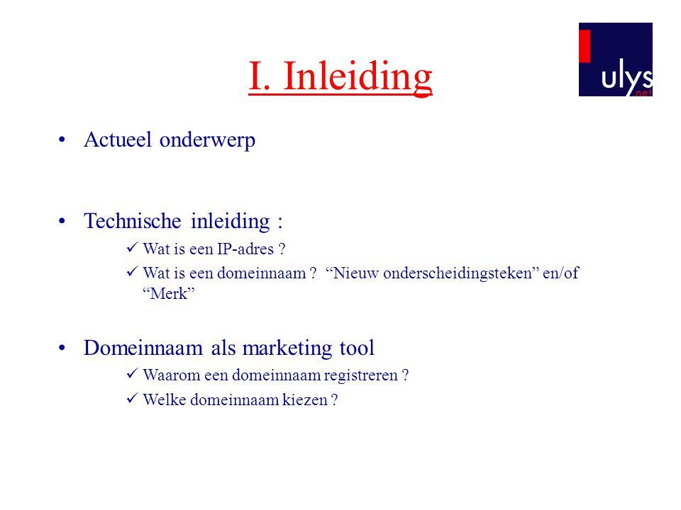 II.Het beheer van domeinnamen A.