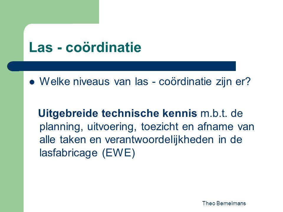 Theo Bemelmans Las - coördinatie Welke niveaus van las - coördinatie zijn er? Uitgebreide technische kennis m.b.t. de planning, uitvoering, toezicht e