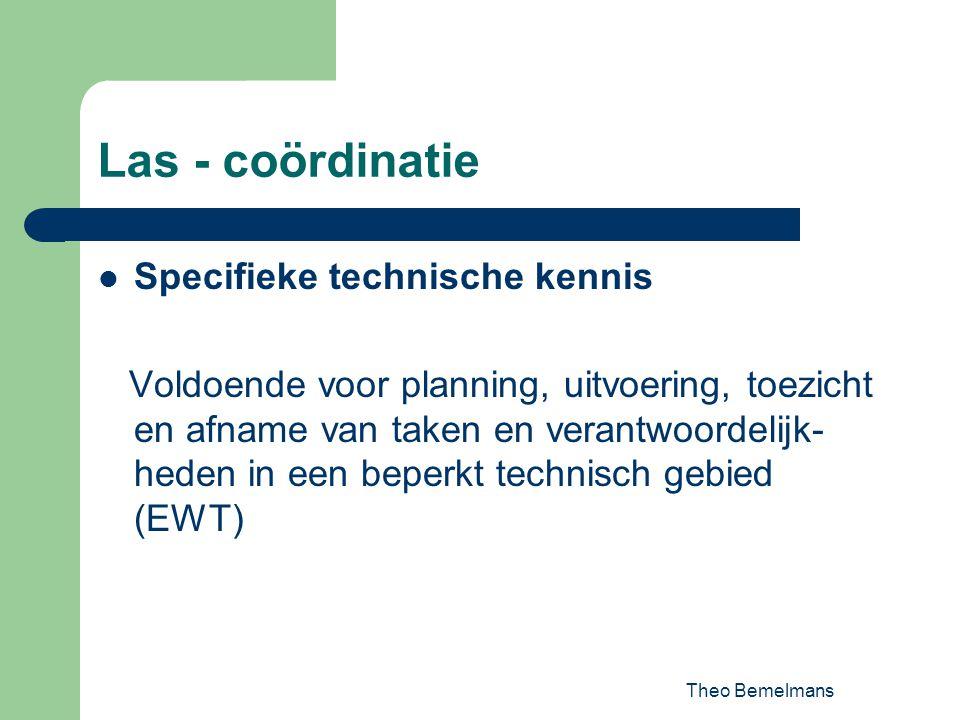 Theo Bemelmans Las - coördinatie Specifieke technische kennis Voldoende voor planning, uitvoering, toezicht en afname van taken en verantwoordelijk- h