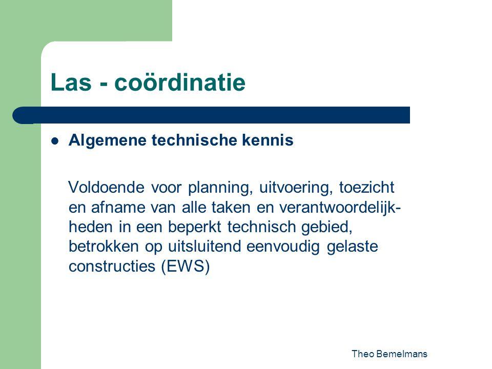 Theo Bemelmans Las - coördinatie Algemene technische kennis Voldoende voor planning, uitvoering, toezicht en afname van alle taken en verantwoordelijk
