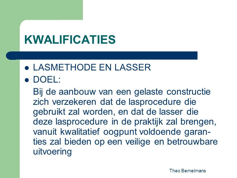 Theo Bemelmans KWALIFICATIES LASMETHODE EN LASSER DOEL: Bij de aanbouw van een gelaste constructie zich verzekeren dat de lasprocedure die gebruikt za