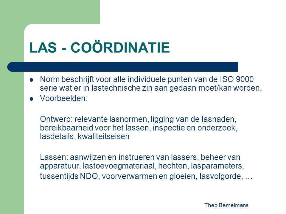 Theo Bemelmans LAS - COÖRDINATIE Norm beschrijft voor alle individuele punten van de ISO 9000 serie wat er in lastechnische zin aan gedaan moet/kan wo