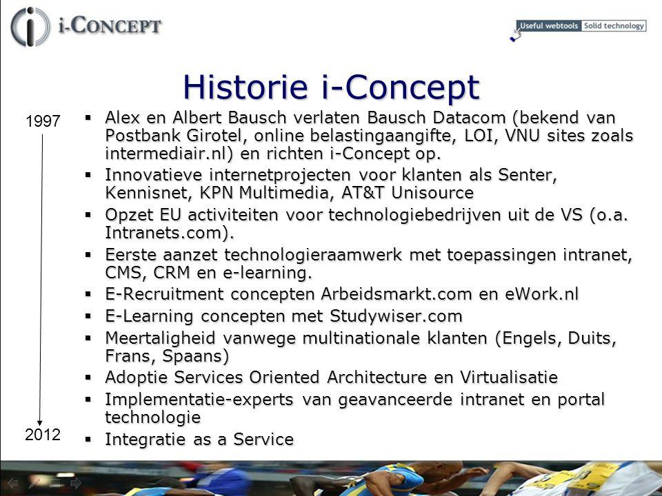 Historie i-Concept  Alex en Albert Bausch verlaten Bausch Datacom (bekend van Postbank Girotel, online belastingaangifte, LOI, VNU sites zoals interm