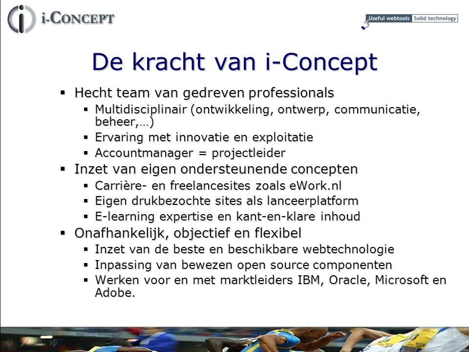 De kracht van i-Concept  Hecht team van gedreven professionals  Multidisciplinair (ontwikkeling, ontwerp, communicatie, beheer,…)  Ervaring met inn
