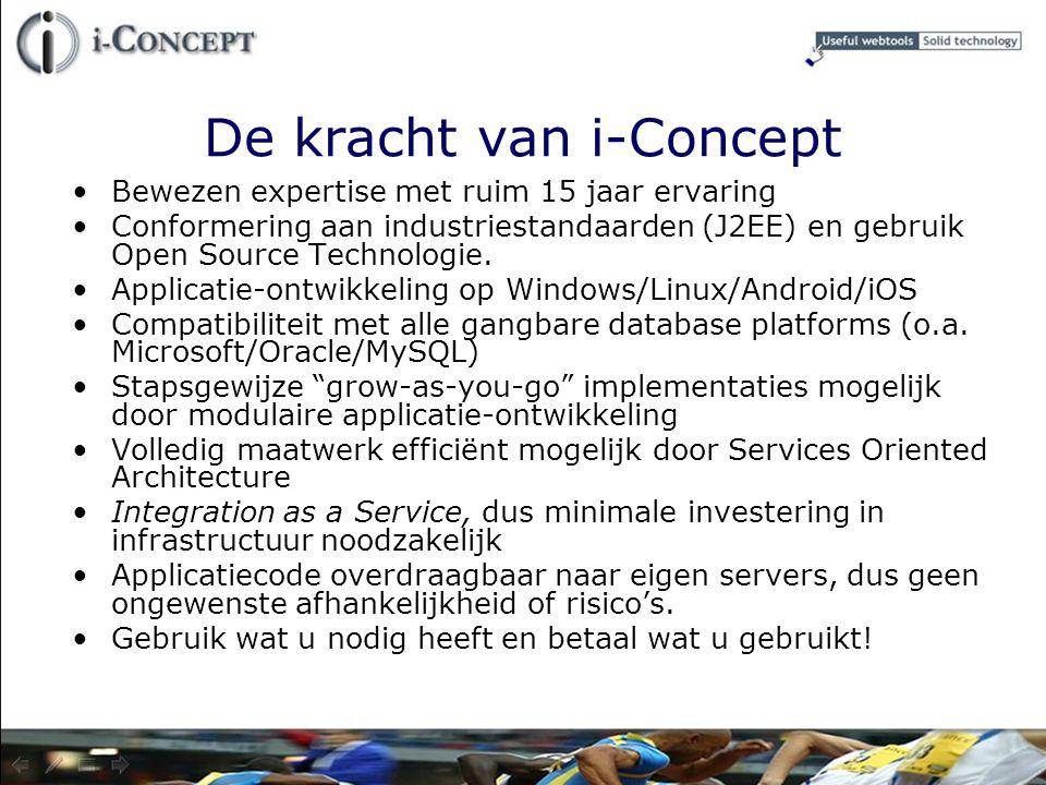 De kracht van i-Concept Bewezen expertise met ruim 15 jaar ervaring Conformering aan industriestandaarden (J2EE) en gebruik Open Source Technologie. A