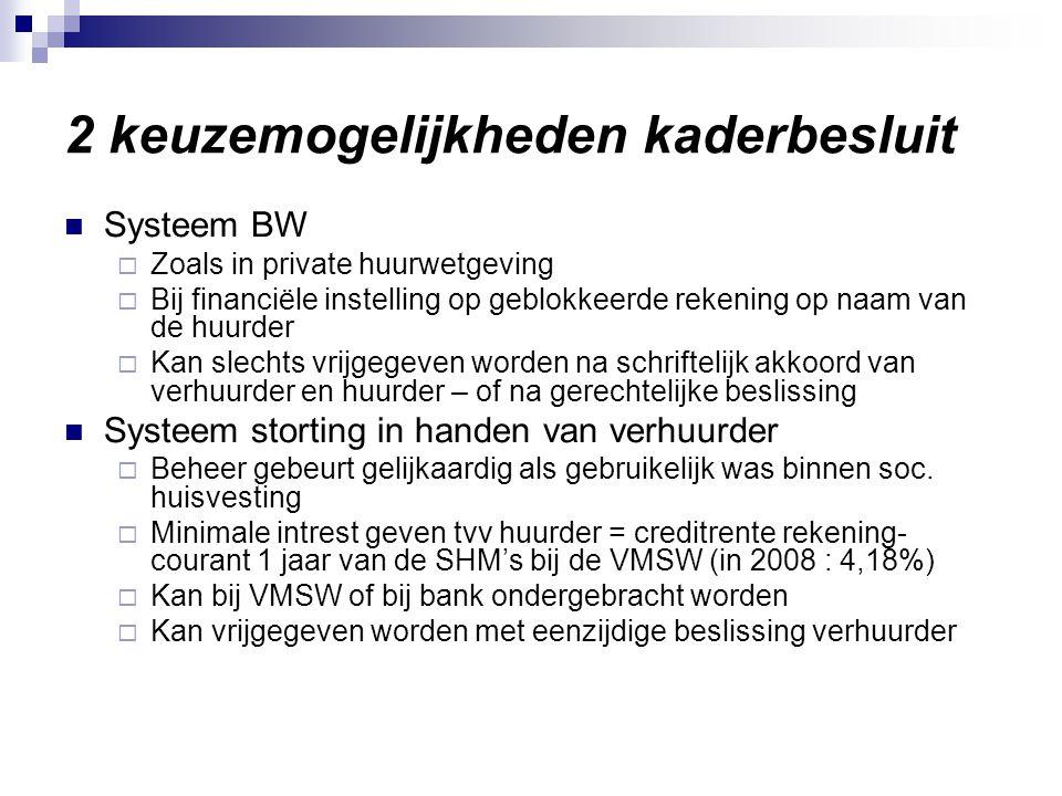 Kaderbesluit sociale huur 12 X 2007 Meeste SHM's kiezen voor 2de mogelijkheid om bij problemen de waarborg te kunnen innen.