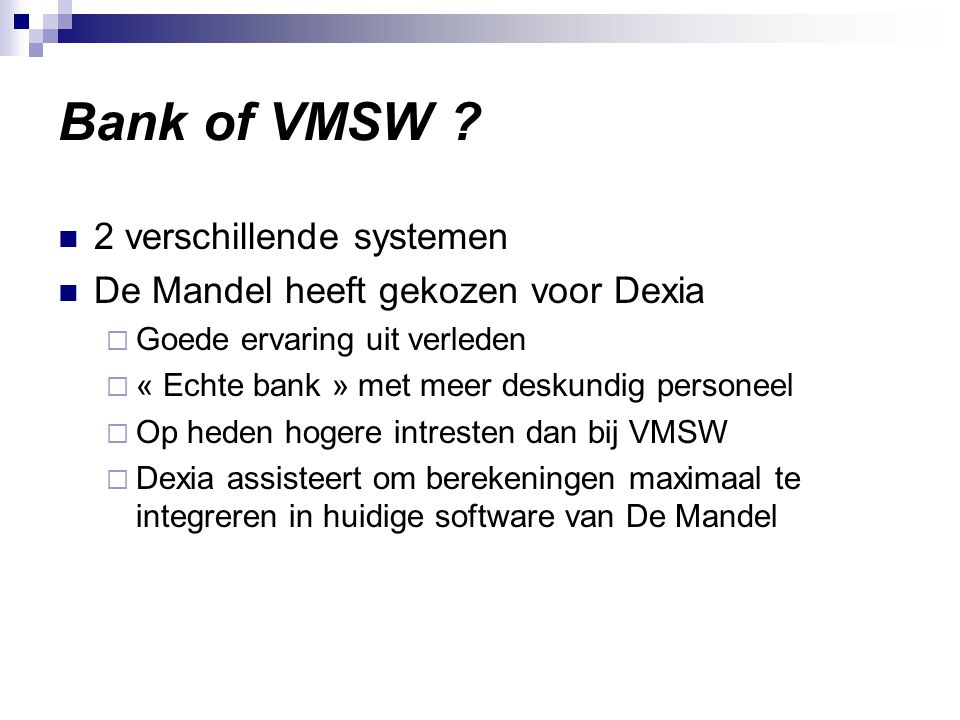 Bank of VMSW .